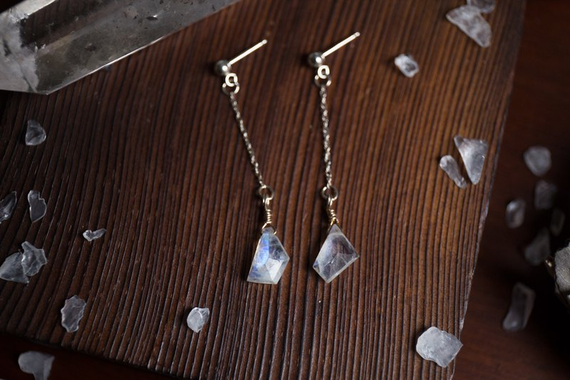 Moon fragment handmade blue halo moonstone sterling silver earrings orphans one figure