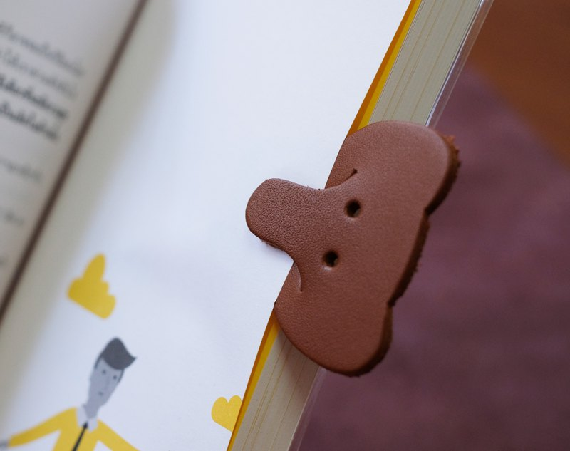 Leather Bookmark / Cute Animal Bookmark / Gift for Book Lovers - Elephant Tan