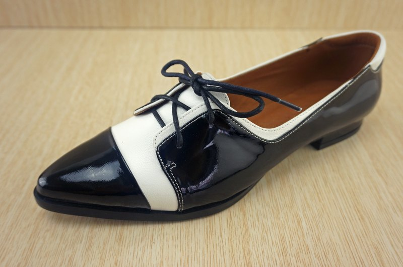 Pointed flat bottom Oxford shoes, handmade shoes, handmade shoes, CHANGO results shoe Square, Oxford shoes