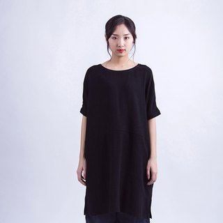 Black sand-washed cotton half-sleeved shirt