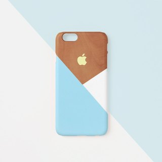 iPhone case - Pastel blue layered wood pattern - for iPhones - non-glossy L06