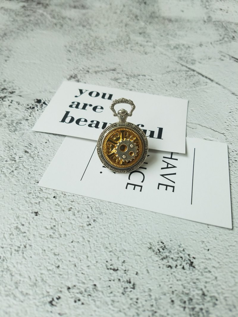Retro Metal Gear Brooch steam punk pocket watch design suit pin