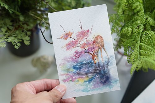 Postcard Cherry Deer AN-0116