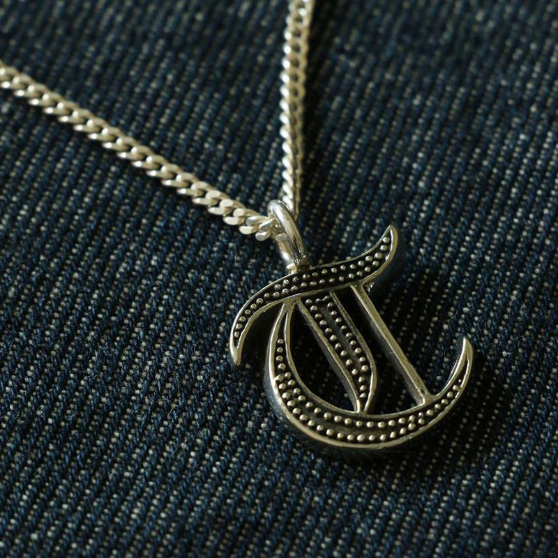 T pendant necklace Biker A-Z silver alphabet Initial Letters GIFT Personalized