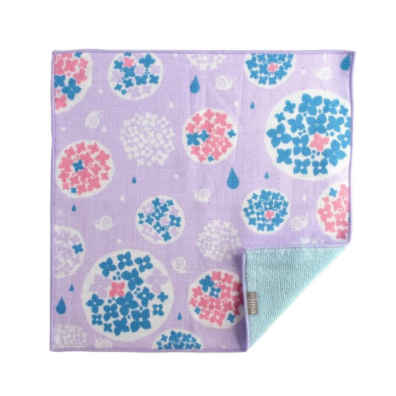 Japan Prailiedog Imabari Organic High Quality Pure Cotton Scarf - Hydrangea and Snail