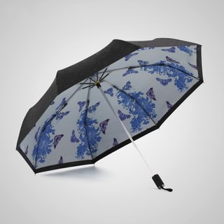 [German kobold] Anti-UV zero-light intelligent sunscreen - Blue and white porcelain series - Double shade sunscreen cooling umbrella - Three fold umbrella - Dielianhua