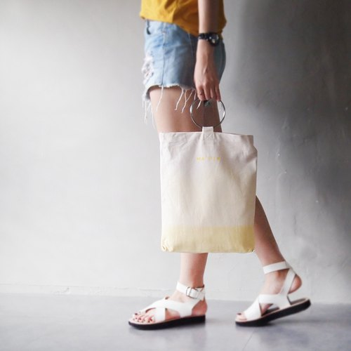 Champagne yellow gradient satin dye - hand dyed tote bag