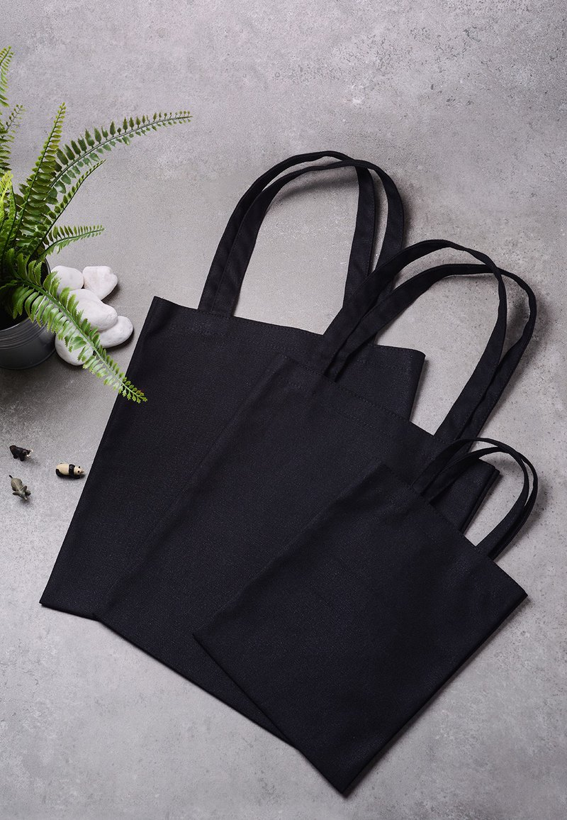 Eco-friendly canvas bottle bag storage bag double handles (black)