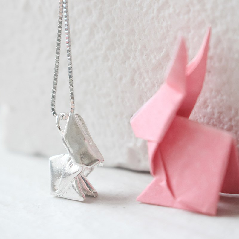 925 Silver Origami Rabbit Necklace