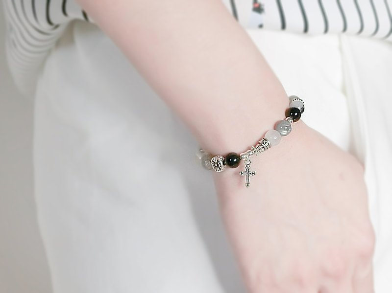 Predestined way natural stone beaded silver bracelet │ black white line 玥unicorn