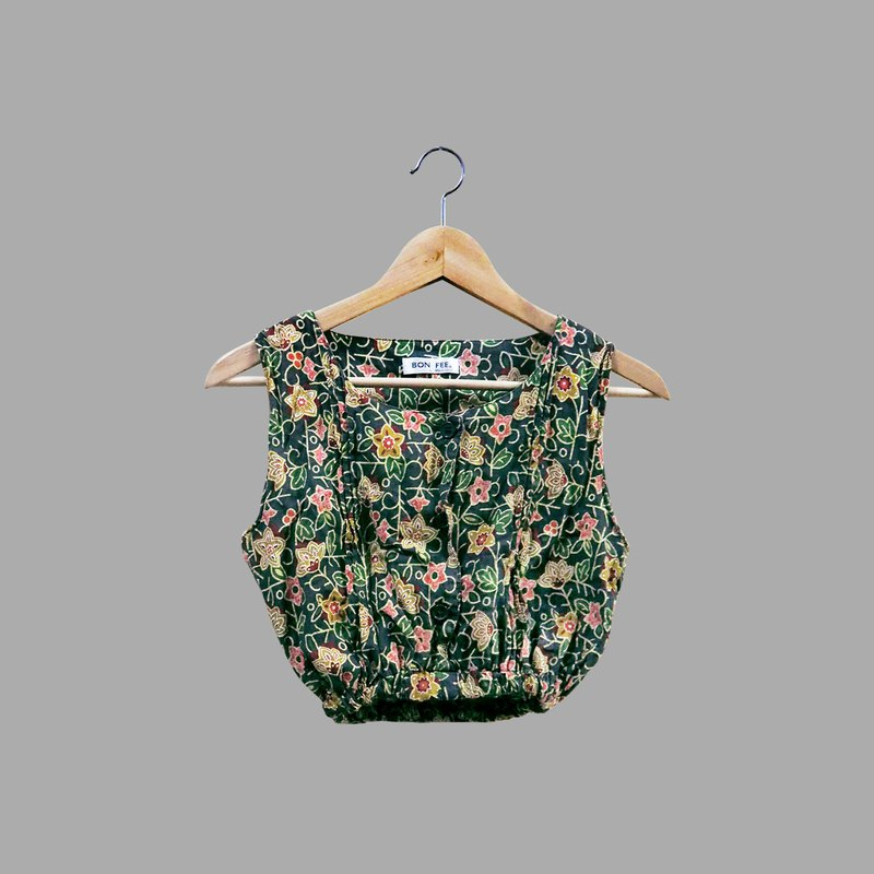 Retro pattern pattern thai style short vest