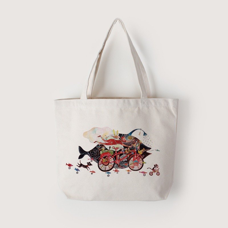 Tote bag-biking in the rain