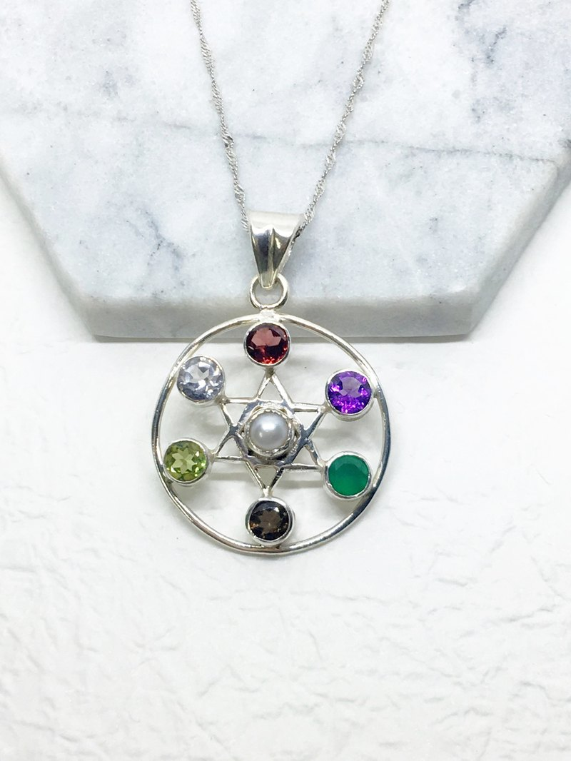 Multi - precious stones 925 sterling silver hexagram design necklace