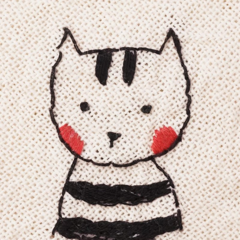 Handmade embroidered square towel, handkerchief - black striped clothes Mr. Shame cat