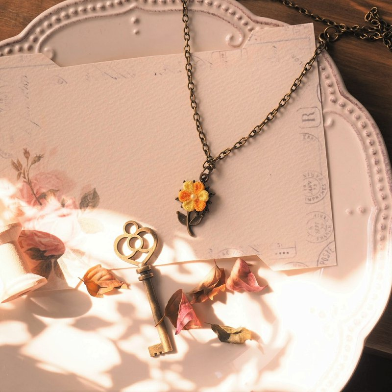 Yellow Flower Long Chain Necklace custom