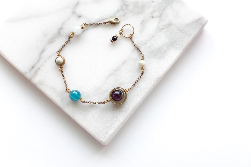 //Limited Hui Yin Customization // Brass Bracelet | Blue Agate | Purple Tiger Eye Stone | White Crystal