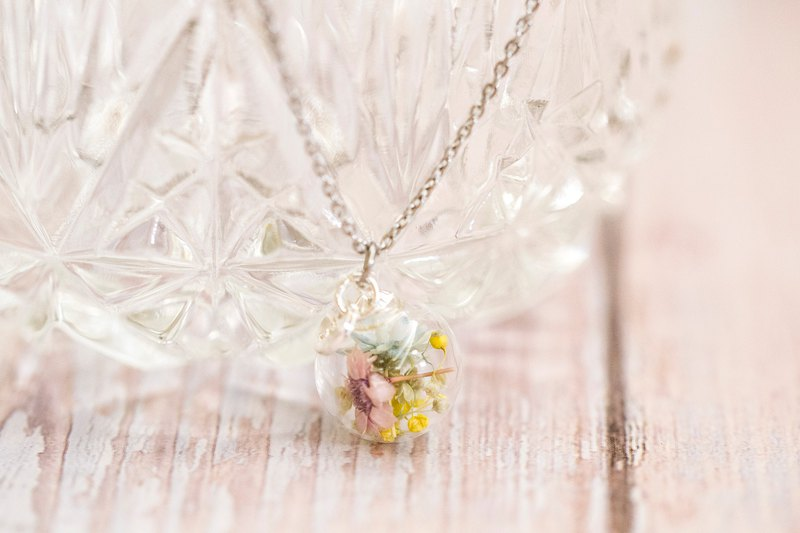Real Flower in Glass Ball Stainless Steel Necklace