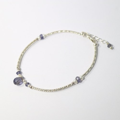 【ColorDay】Dazzling~堇青石_天然珍珠純銀手鍊〈Lolite + Pearl Silver Bracelet〉