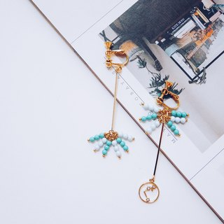 Dandelion - soft blue + mint green crystal pearl 12 zodiac earrings