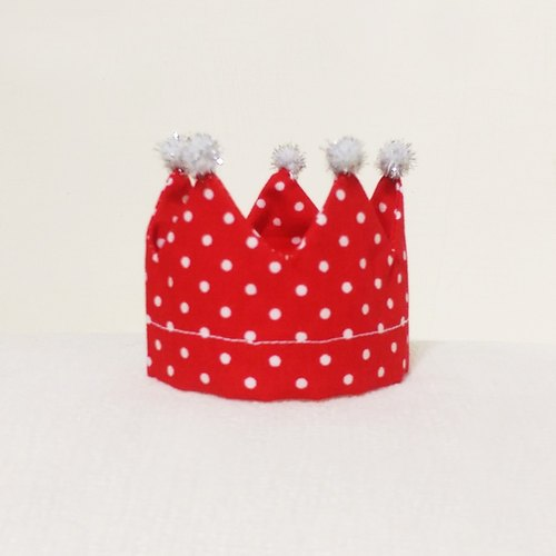 Ella Wang Design Crown Crown birthday hat pet dogs and cats in red Shuiyu point