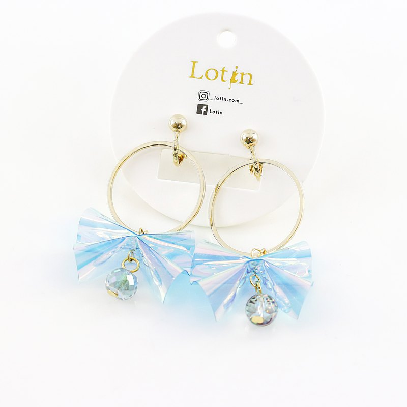 Mink Silver Bow Earrings - Blue | Dangle Earrings Birthday Gifts Exclusive Design