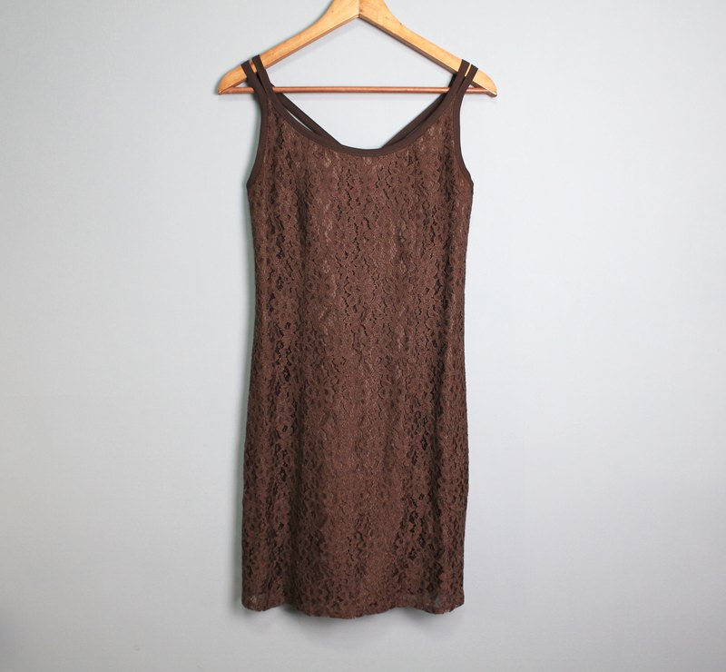 FOAK Ancient Italian lace strap dress