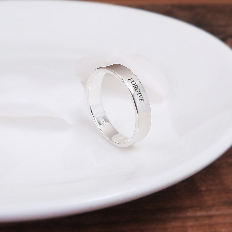 Simple plain sterling silver finger ring -4mm plane cessation
