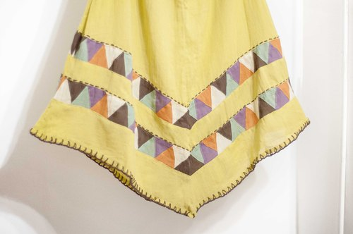 Cotton and linen embroidery skirt / ethnic skirt / color cotton skirt skirt / handmade patchwork skirt - color triangle