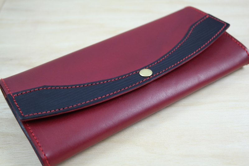 APEE leather hand-portable long clip A ~ plain dark red / black