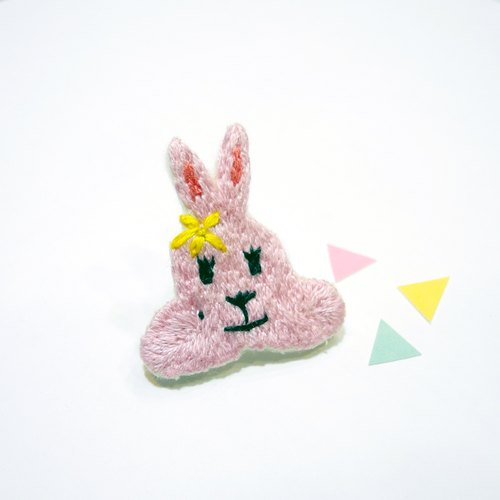 Department of forest embroidery pink rabbit brooch pin hand embroidery
