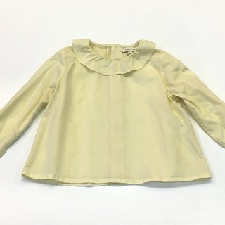 Beige thin lotus leaf collar long-sleeved shirt