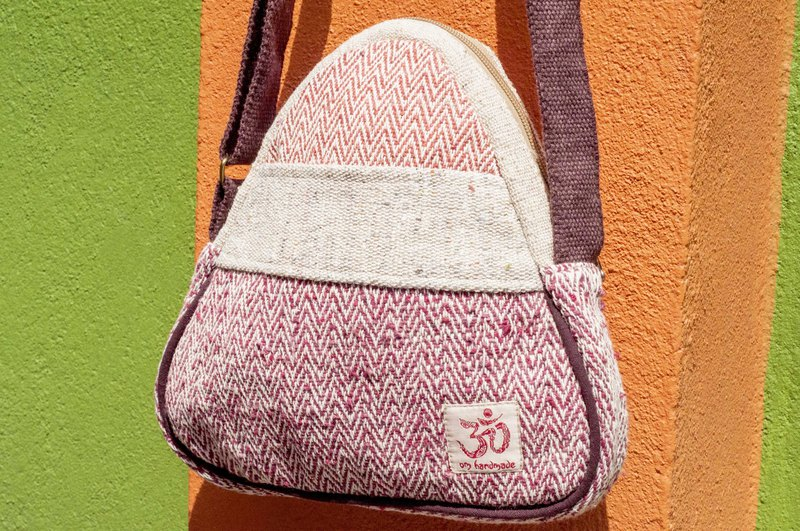 Natural hand-woven cloth sloping backpack backpack shoulder bag small bag travel bag - floating water dyed imperial rice package