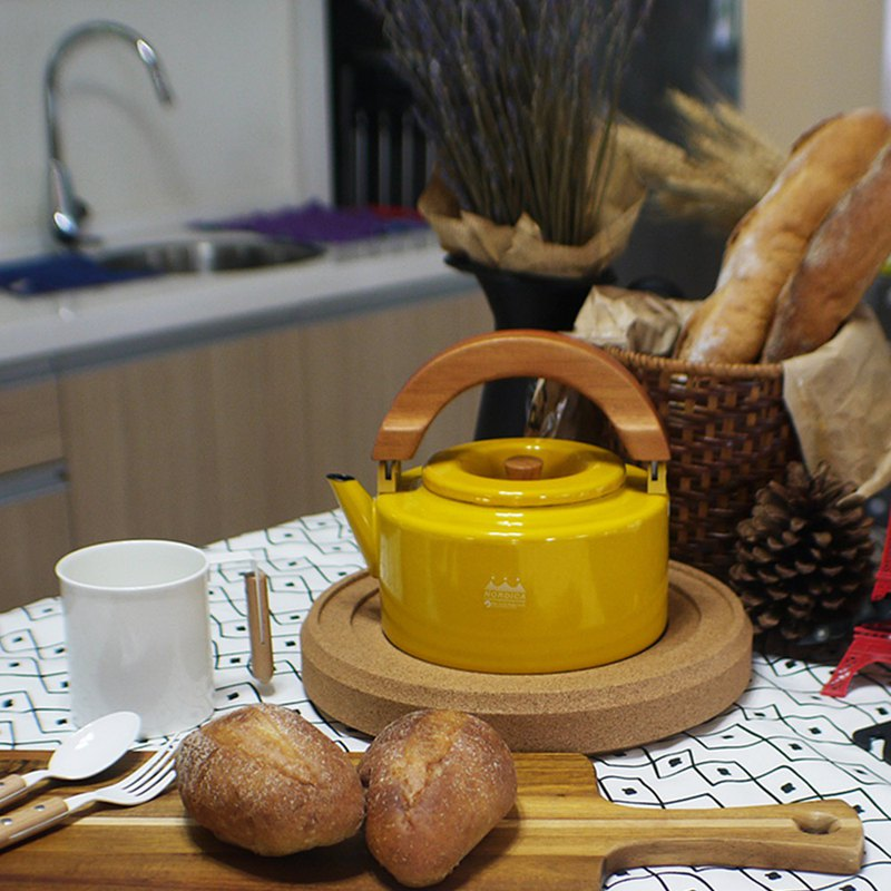 CB Japan Nordic Series 珐琅 Wood Tea Dual-use Pot - Mustard Yellow