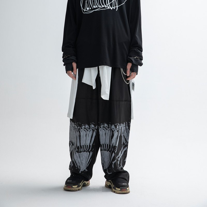 PHIM mechanical walking print deconstructed wide leg trousers