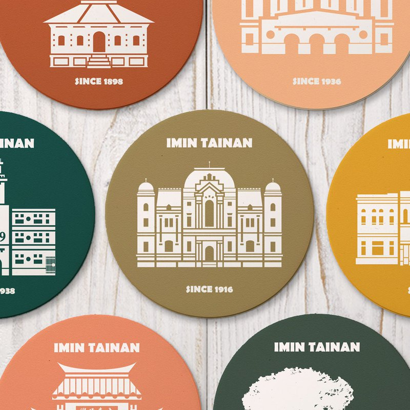 Tainan Color Architectural Series Water Absorbing Ceramic Three-dimensional Coaster