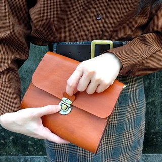 Fiber leather hand-made vegetable tanned leather square bag