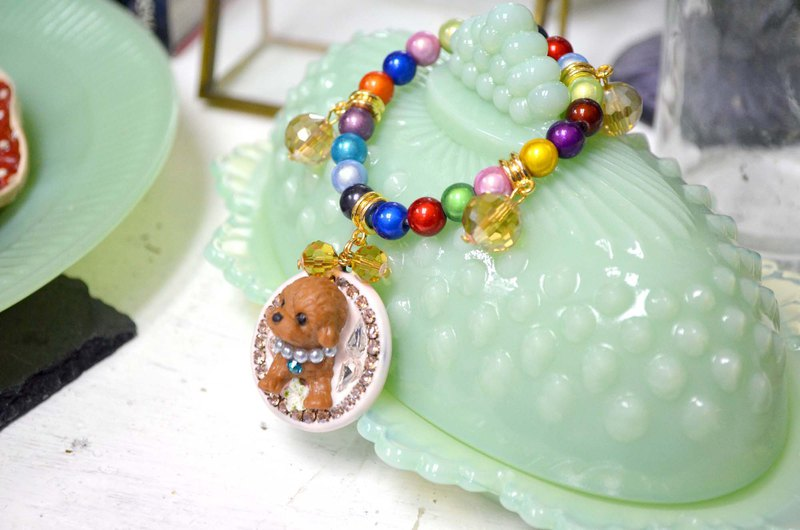 Three-dimensional lady dog adorned with crystal stone bracelet seven-color rainbow beads