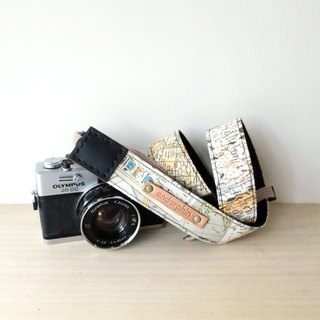 【Endorphin】 Handmade camera strap leather + cotton + metal buckle [TRAVELER Travel Series - Around the World]