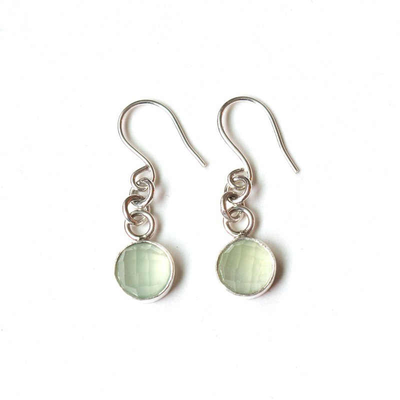 葡萄石純銀耳環  Prehnite silver earrings