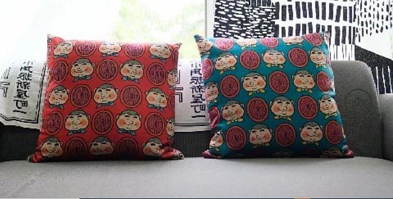 新丁粄 柔滑抱枕套~紅色/綠色