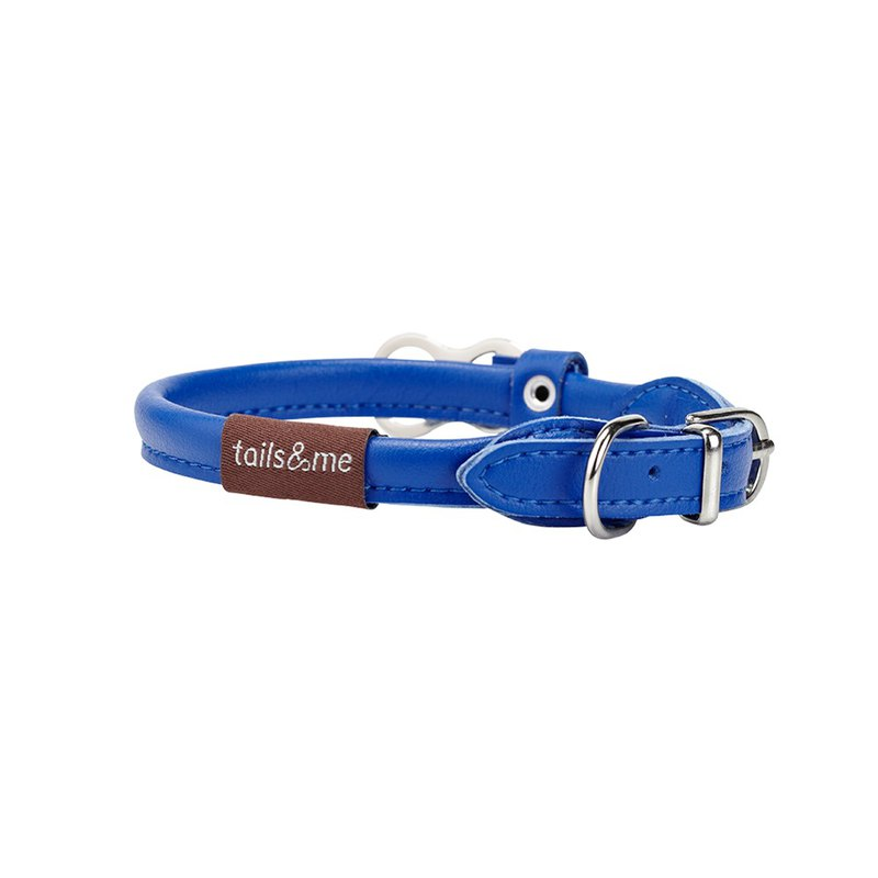 [tail and me] natural concept leather collar marine blue XS