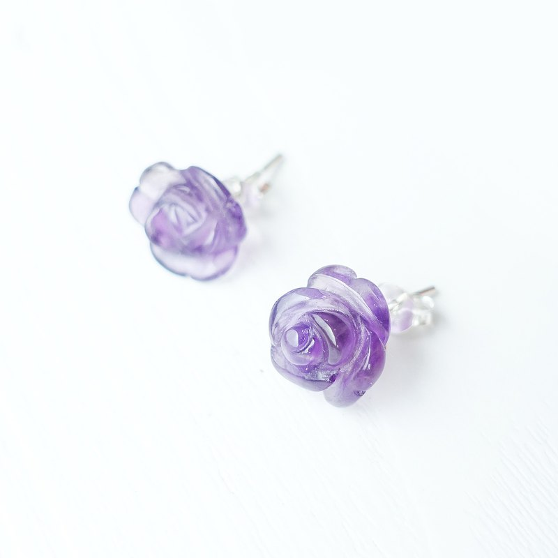 ROSE- Limited Amethyst Sterling Silver Piercing Earrings