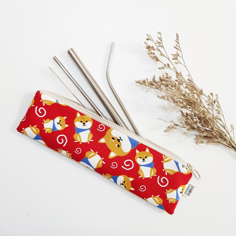 [Chai Chai Paradise-Red] Cutlery Bag Straw Bag Environmental Pen Bag Brush Bag Christmas Exchange Gift