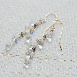 Two blue stones and crystal earrings 14 kgf