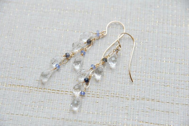 兩種藍色石和水晶耳针14kgf