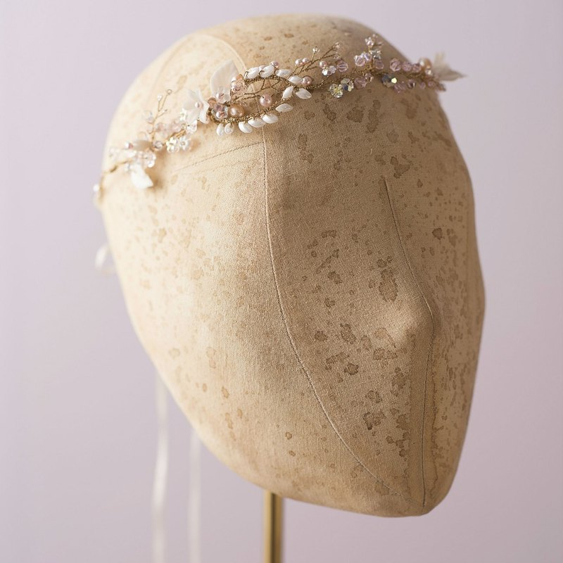 Miss Pastel freshwater pearls and imported clay flower wedding headdress / wreath / bridal headdress