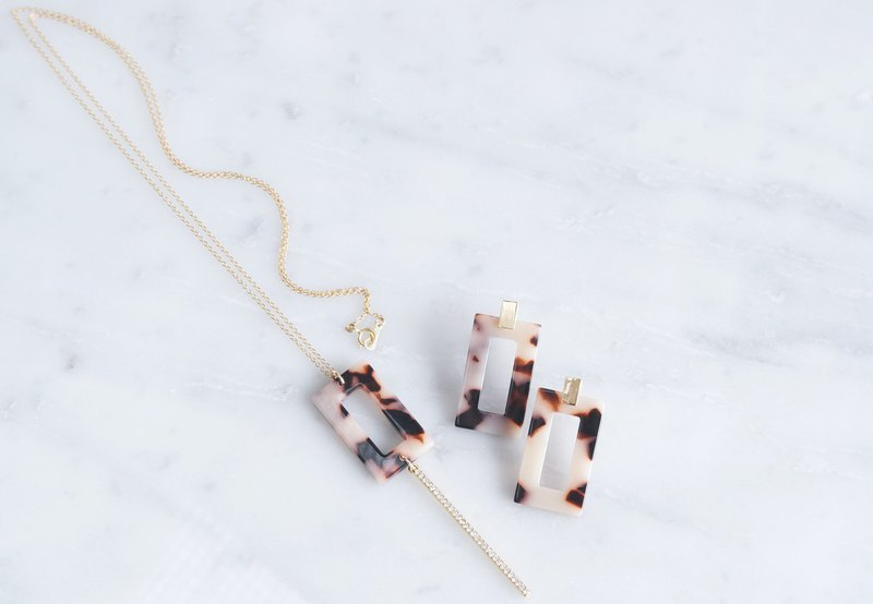 【Marble】 14KGF Long Necklace, Glass Long Bar-Brown Mix-