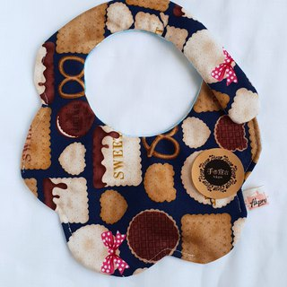 Biscuits - Deep Blue - Thick Cotton & Six Layered Yarn with a Circular Shape Bib. Saliva Towel. 100% Cotton