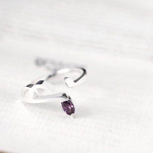 Amethyst Music note Ring 925 Sterling Silver