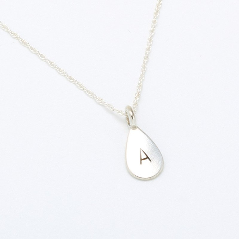 Custom waterdrop raindrop stamping  letter digit s925 sterling silver necklace